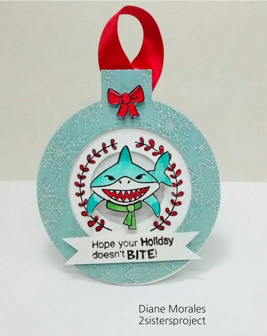 IPC 38 Favorite | Shark Christmas Card by Diane Morales | Shark Bites stamp set by Newton's Nook Designs #newtonsnook