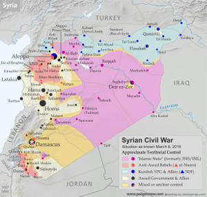 Premium map of territorial control in the Syrian Civil War