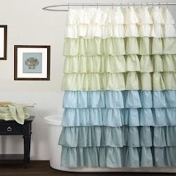 Cortina para baño de tela con volados