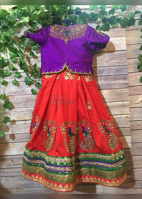 Peacock Design Red Purple Lehenga