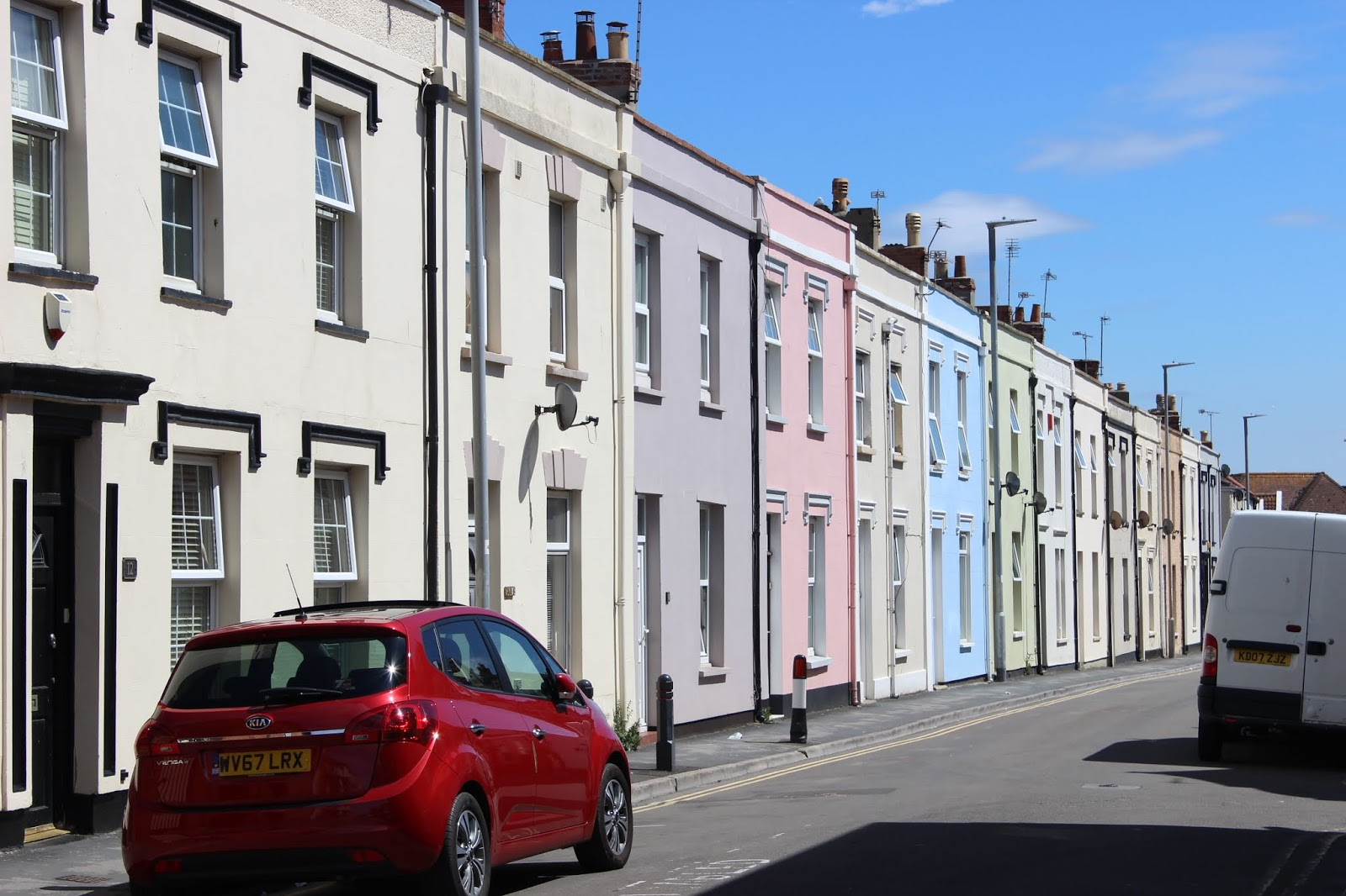 Rainbow coloured houses in Burnham-On-Sea