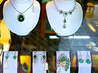 green jade necklaces and earrings