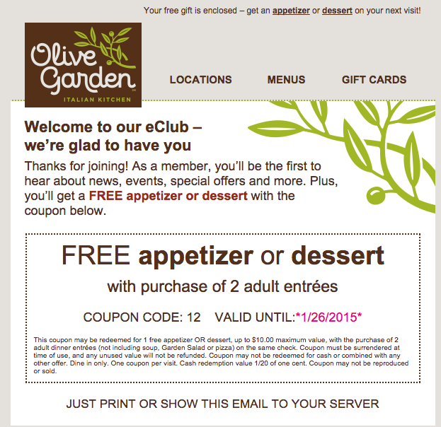 image relating to Olive Garden Printable Menu named Totally free dessert coupon olive backyard / Discount coupons galena il