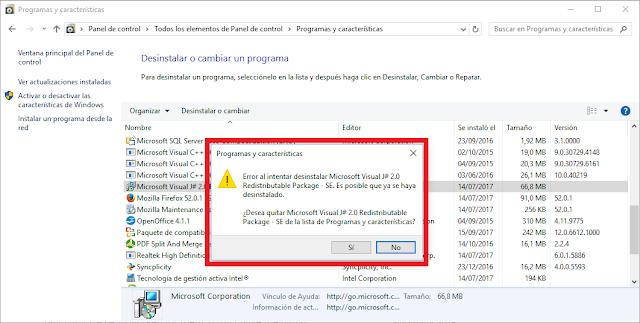 Error al intentar desinstalar Microsoft Visual J # 2.0 Redistributable Package - Segunda edición. Es posible que ya se haya desinstalado.