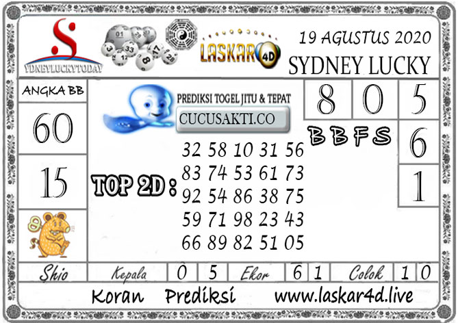 Prediksi Sydney Lucky Today LASKAR4D 19 AGUSTUS 2020