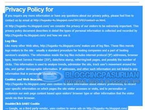 Cara Membuat Privacy Policy atau Kebijakan Privasi di Blog