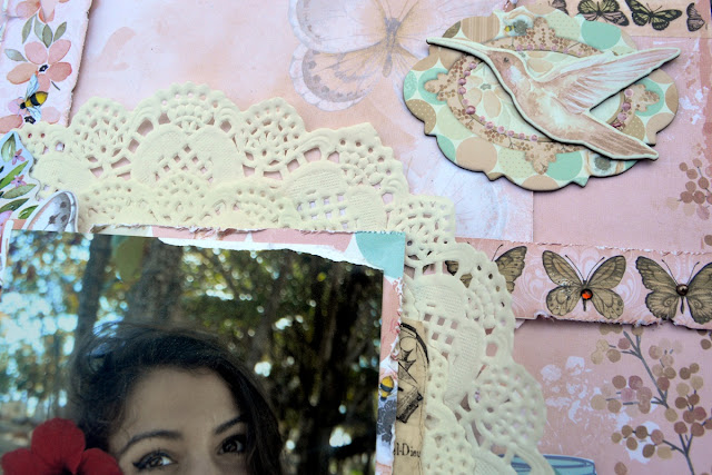 Fabulous Butterfly scrapbook page by Agnieszka Bellaidea for BoBunny featuring Butterfly Kisses collection