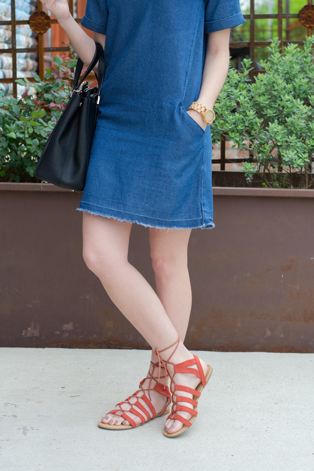 Weekend summer outfit with colorful lace up sandals and denim frayed dress