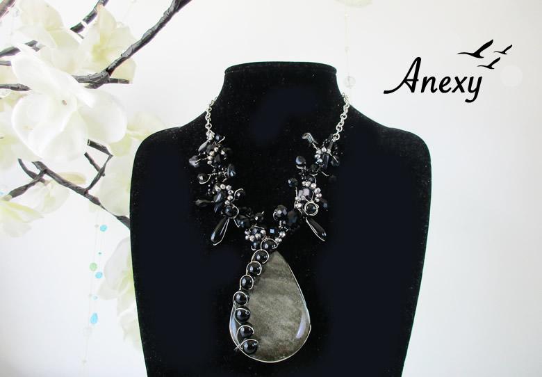 Collar Gótico de Obsidiana Dorada y Onix