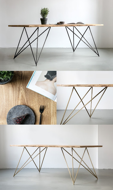 live edge dining tables inspiration and DIY with gold hairpin legs