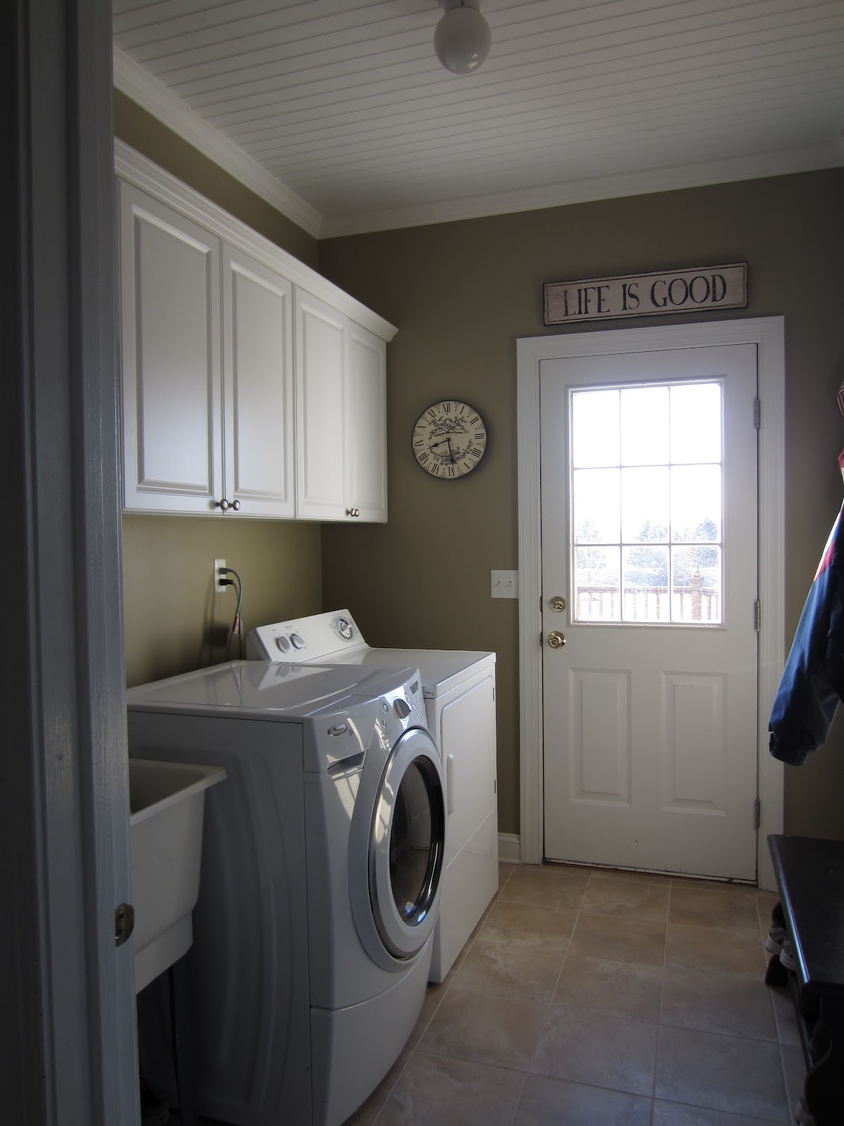 Beadboard Ceiling in the Laundry Room - Calypso in the Country Blog