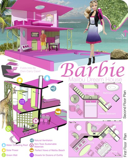 schuetzdesign  American Architects design their own Barbie     Dream         Barbie thinks      and a kind of weird wardrobe staircase thing   that you  are going to have to download the PDF here to see  It even has floor plans