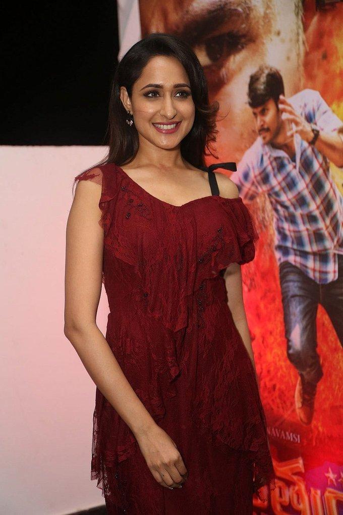 Pragya Jaiswal Stills At Nakshatram Movie Audio Launch In Maroon Dress