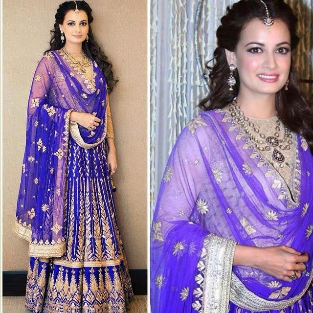 dia mirza, in @anitadongre for her sangeet, festivities bridal leh engh a, gotta patti, bollywood la a, fashion designer, haut co out ure, dia we ds sahil ,