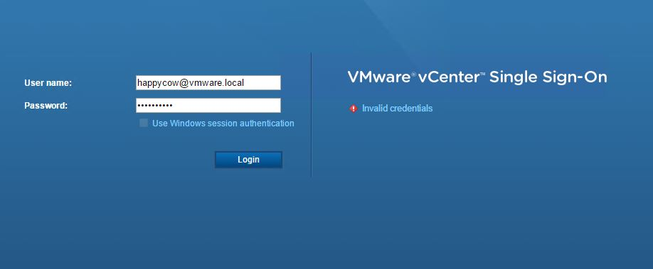 vSphere 6 5: Login To Web Client Fails With Invalid