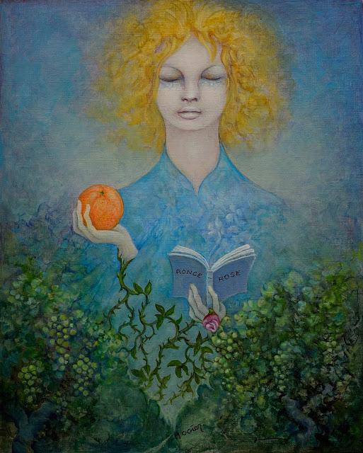 « La fillette à l'orange », huile sur papier huilé, 27x33cm, Michel Ogier