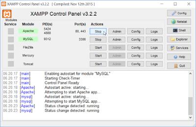 Klik tombol Apache Start