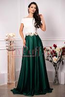 Rochie de ocazie lunga in clos verde din tafta