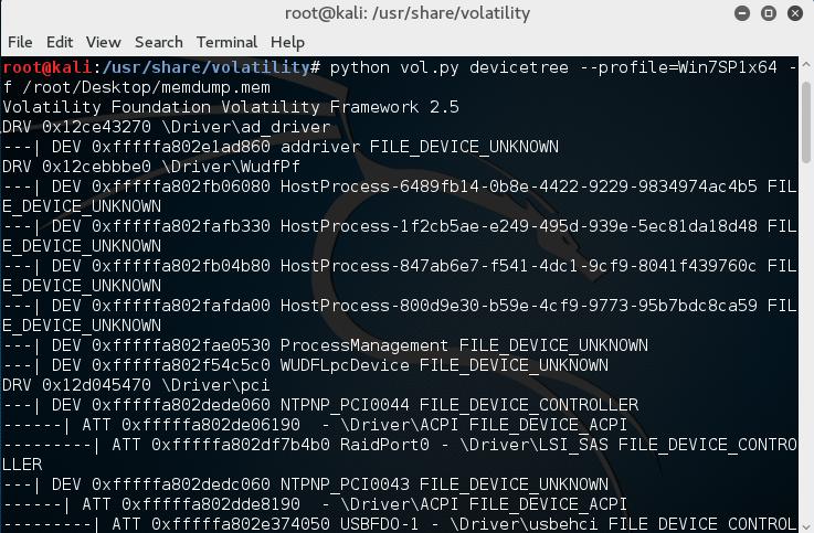 Kali Linux, Volatility - devicetree