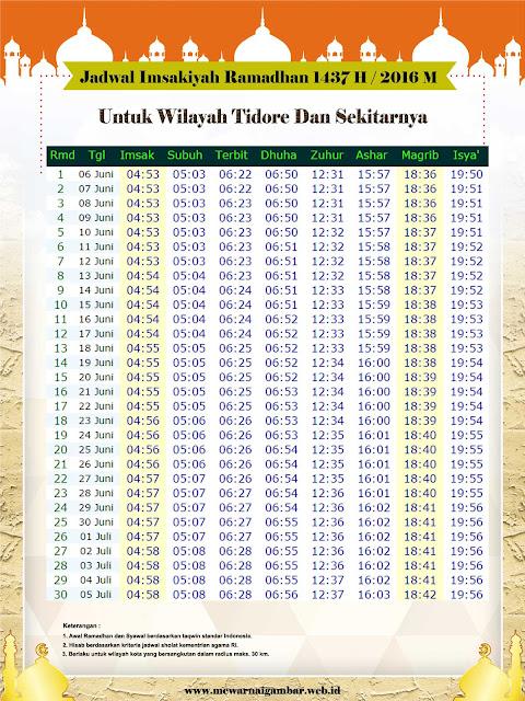 Jadwal Imsakiyah Tidore Tahun 1437 H (2016 M)