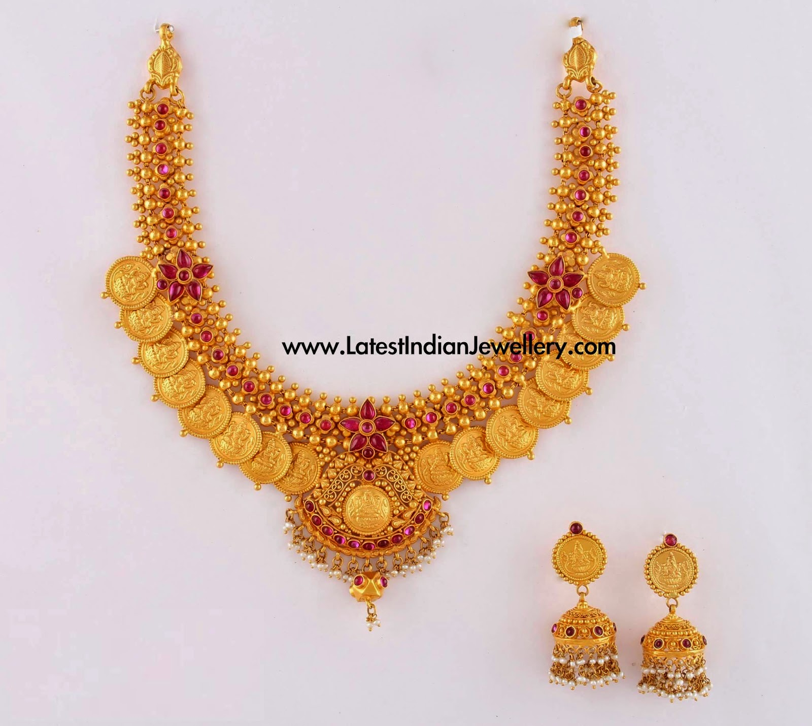 fine crafted gold kasumalai set latest indian jewellery