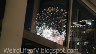 Our view of fireworks show at Petco Park from the SherlockeDCC  party
