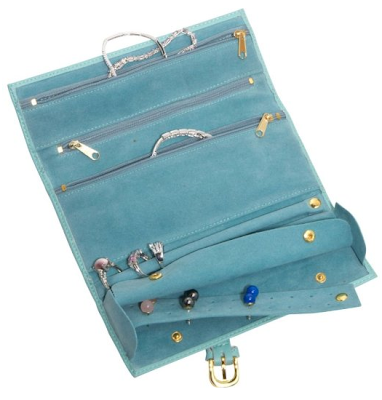 Jewelry travel storage case options: the Amerileather leather jewelry roll (expanded view). Via Diamonds in the Library.