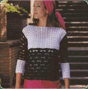 Jersey o Buso Blanco y Negro a Crochet