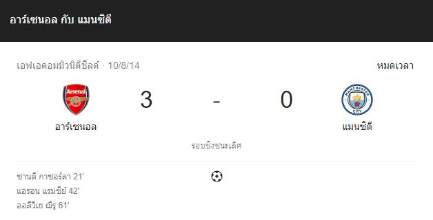 แทงบอล ไฮไลท์ เหตุการณ์การแข่งขัน อาร์เซน่อล vs แมนฯ ซิตี้