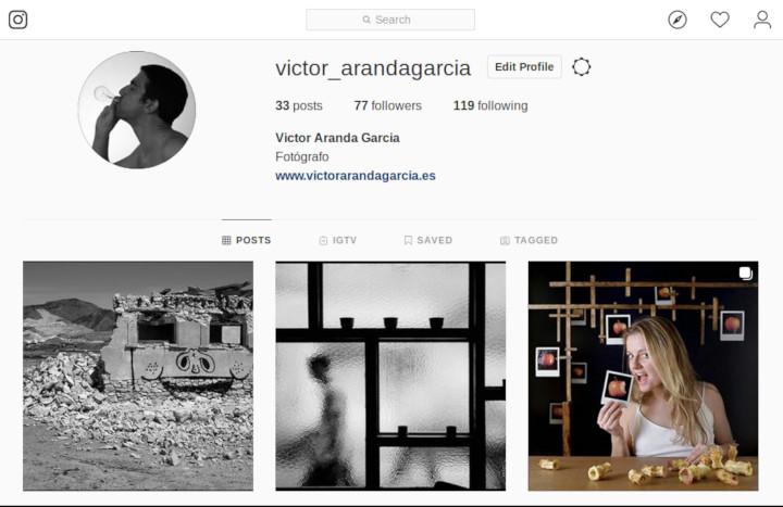 Pantallazo donde se ve el Instagram del fotógrafo Víctor Aranda García