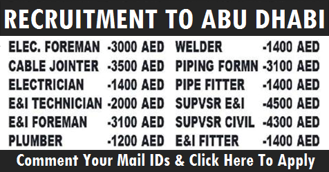 Recruitment to Oil & Gas Construction Company | Abu Dhabi | All Gulf