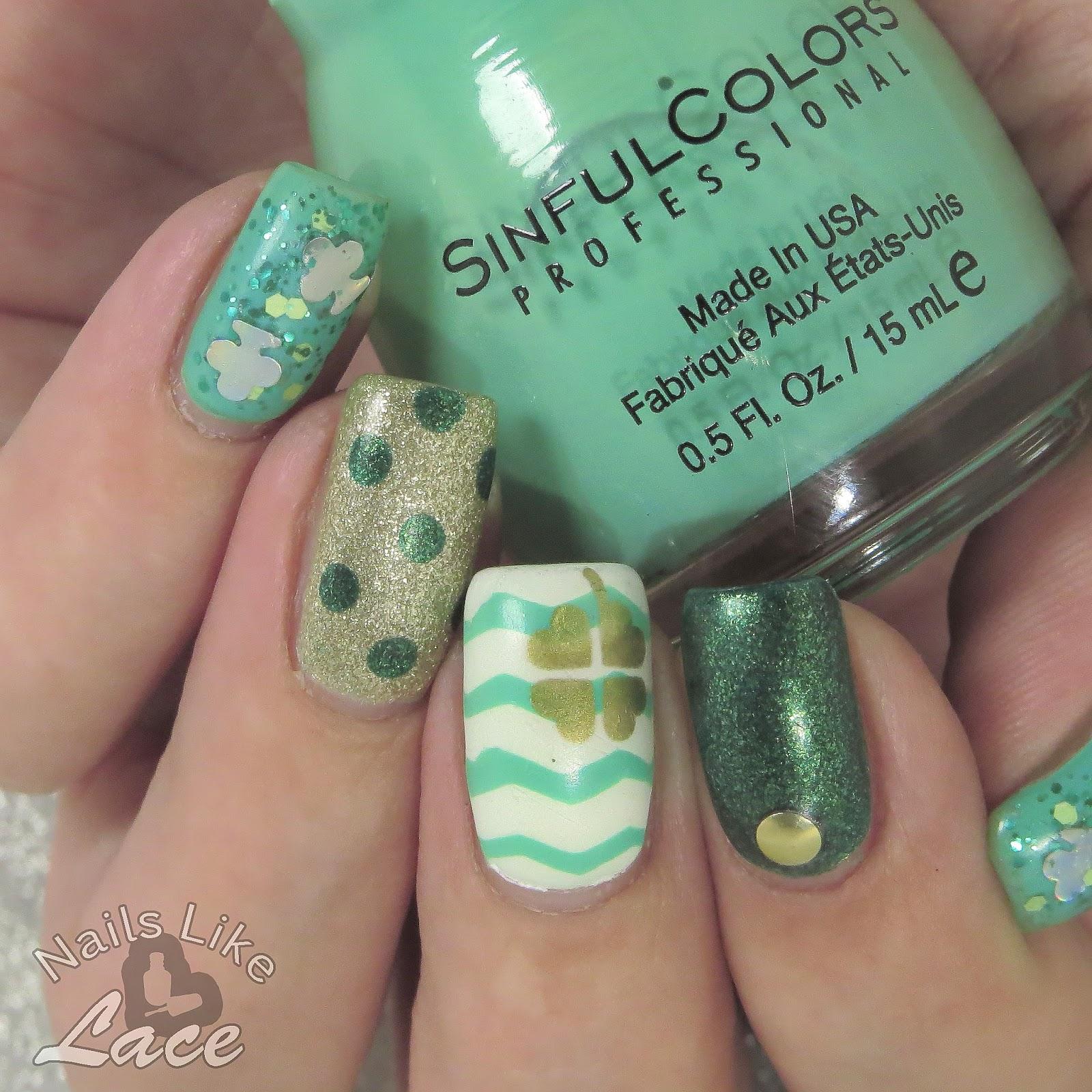 NailsLikeLace: St. Patrick\'s Day Skittles: Chevrons, Shamrocks, and Dots