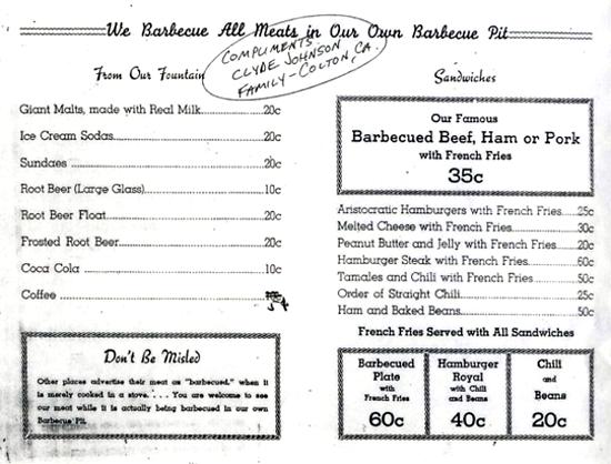 McDonald's menu 1943