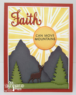Our Daily Bread Designs Stamp/Die Duos: Walk By Faith, Custom Dies: Sunburst Background, Trees & Deer, Double Stitched Circles, Double Stitched Squares
