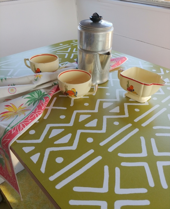stenciled RV table