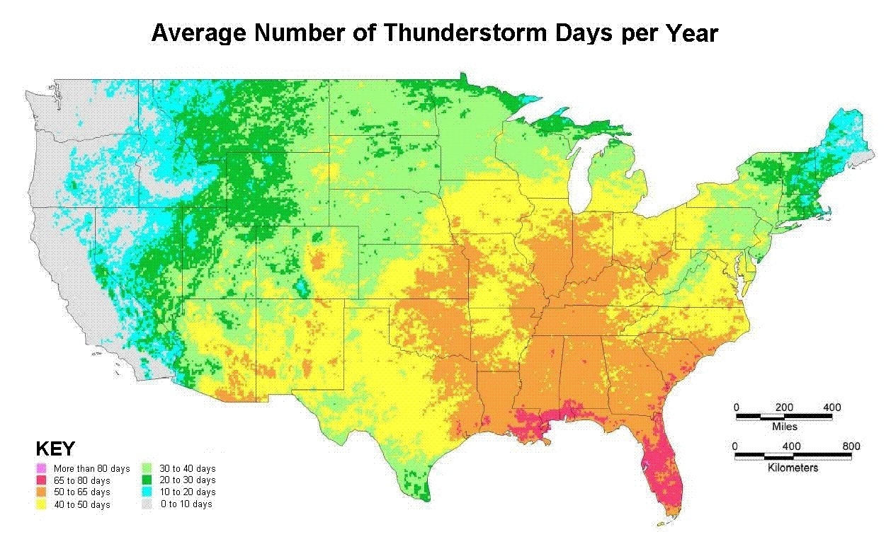 Average amount of thunderstorm days per year with  in the U.S.