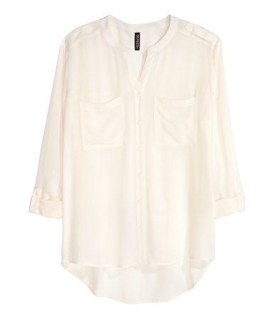 Spring/Summer Capsule Wardrobe: Five Tops for Work from Honey and Smoke Studio // V-neck Blouse in white from H&M