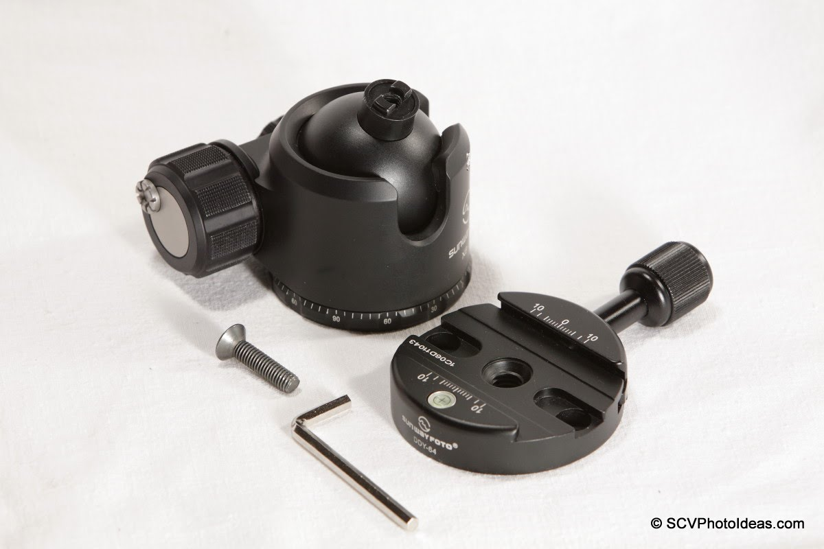 Sunwayfoto DDY-64 Discal QR Clamp w/ XB-44 LP Ball head +screw + hex key