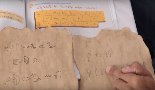 mensaje, secreto, jeroglifico, pergamino, casero, manualidad