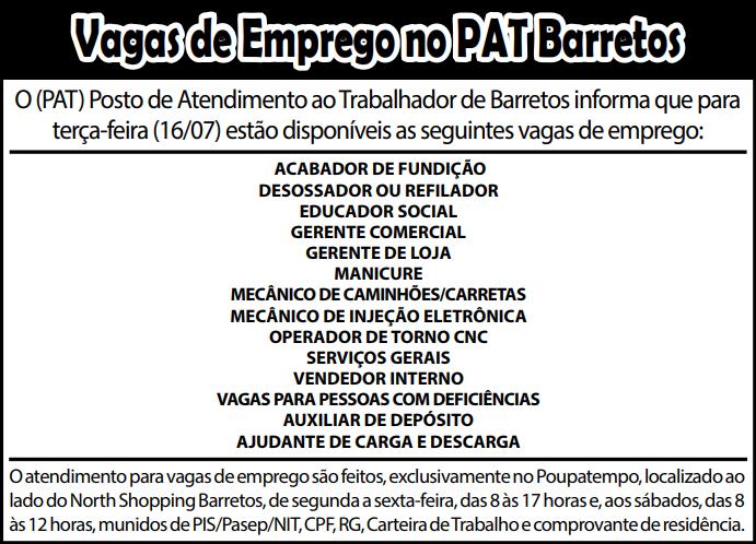 VAGAS DE EMPREGO DO PAT BARRETOS-SP PARA 16/07/2018 (SEGUNDA-FEIRA)
