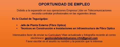2 Vacantes Telecomunicaciones Tegucigalpa Empleos En Honduras