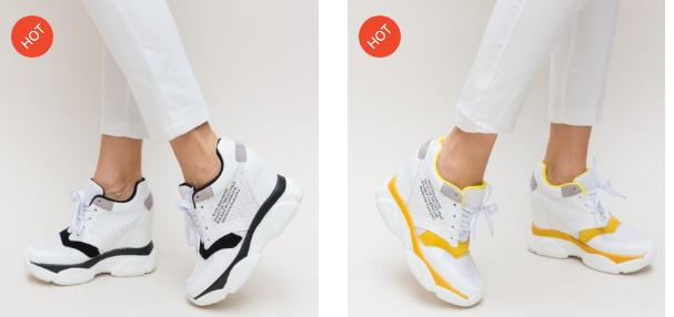 Adidasi dama albi cu negru si galben moderni cu talpa inalta