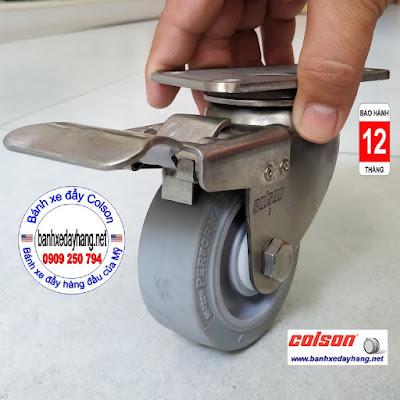 Bánh xe cao su có khóa càng inox 304 Colson 3inch | 2-3356SS-444-BRK4 www.banhxepu.net