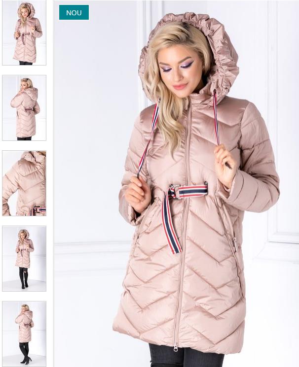Geaca lunga femei ieftina de iarna roz cu cordon in talie