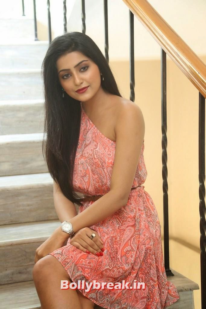 , Long Hair Indian Actress Avanthika Pics in Pink Dress on Stairs