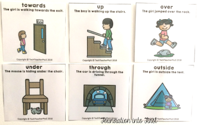prepositional, preposition, prepositions, flash, cards, prep, kinder, geography, location, position, cards