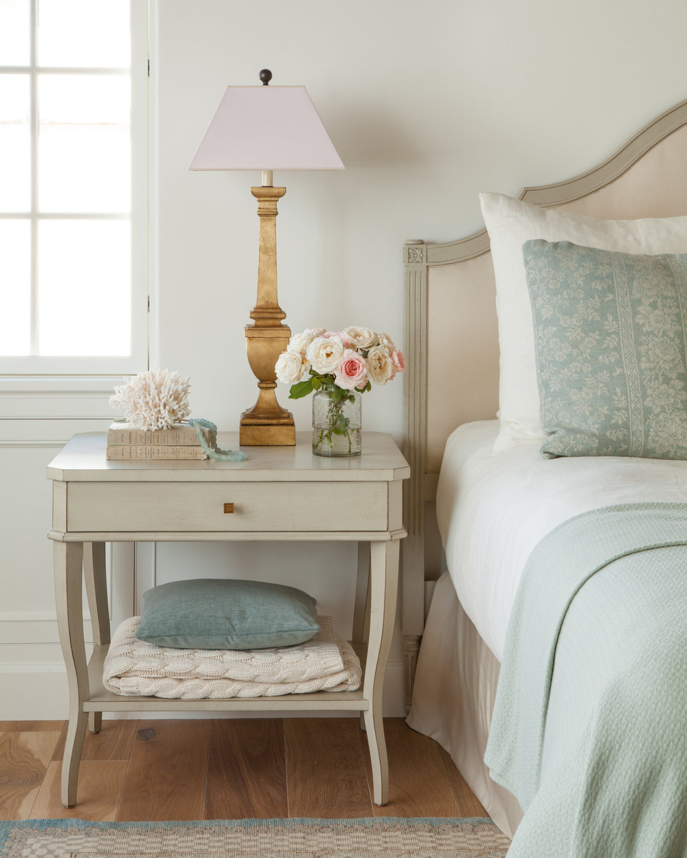 Tranquil and serene beauty in a bedroom with linen, aqua, and romantic decor by Giannetti Home. #aqua #romanticbedroom #modernfarmhouse Photo: Lisa Romerein