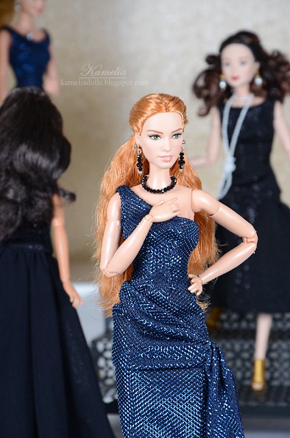 Handmade evening gown and jewellery for dolls