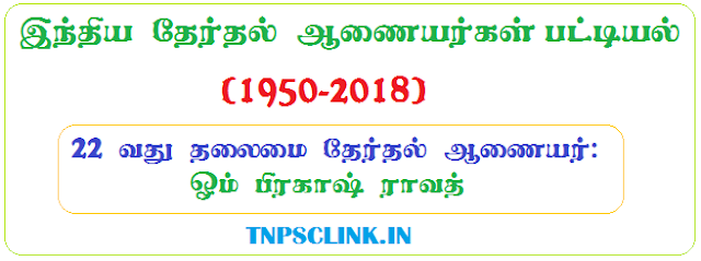 List of Chief Election Commissioners of India (1950 TO 2018) in Tamil - PDF