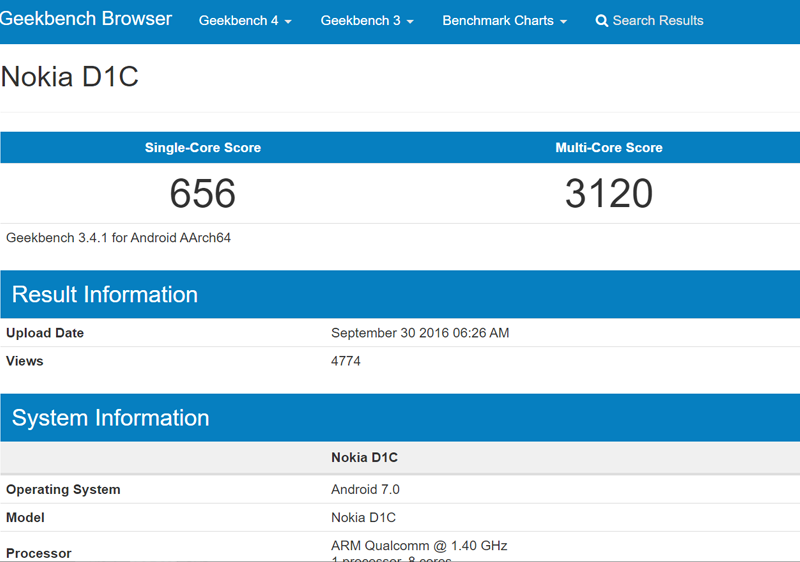 Nokia D1C at Geekbench